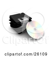 Clipart Illustration Of A CD Resting Against A Stack Of Black Floppy Disc Drives Over White