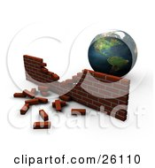 Clipart Illustration Of Planet Earth Behind A Crumbling Brick Wall Symbolizing Pollution