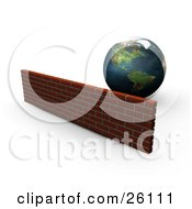 Clipart Illustration Of Planet Earth Behind A Strong Brick Wall