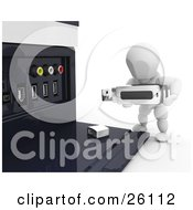 Clipart Illustration Of A White Character Inserting A Memory Stick Into A USB Port Of A Computer Tower by KJ Pargeter