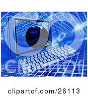 Clipart Illustration Of A Flat Computer Screen And Keyboard With A Blue Global Binary Grid Background by KJ Pargeter
