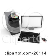 White Character Inserting A Cd Into A Disc Drive Of A Desktop Computer