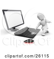 White Character Kneeling And Typing On A Computer Keyboard by KJ Pargeter