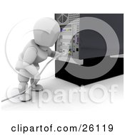 White Character Plugging In A White Cable To The Back Of A Computer Tower by KJ Pargeter
