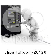 White Character Plugging In A USB Cable To A Computer Tower by KJ Pargeter