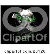 Clipart Illustration Of A Wire Frame Globe Padlocked With Green Binary Coding Chains Over A Reflective Black Surface