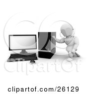 Clipart Illustration Of A White Character Holding A Stethoscope Up To A Desktop Computer Tower by KJ Pargeter