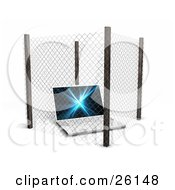 Clipart Illustration Of A Laptop Computer Inside A Secure Fence