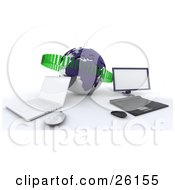 Clipart Illustration Of A Laptop And Desktop Computer Up Against A Blue Globe With Green Binary Code Symbolizing Networking