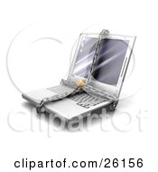 Clipart Illustration Of A Gray Laptop Computer Locked In Chains by KJ Pargeter