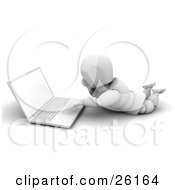 White Character Lying On His Belly And Using A Laptop by KJ Pargeter