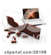 Clipart Illustration Of A Laptop Computer Behind A Crumbling Brick Wall Symbolizing Failing Security