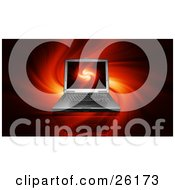 Clipart Illustration Of A Laptop Computer With A Flame Backgroud On The Screen And The Same Feiry Backdrop by KJ Pargeter