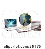 Clipart Illustration Of A Laptop Computer With A Globe Books And Pair Of Glasses by KJ Pargeter