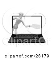 White Figure Character Emerging From A Laptop Computer Screen With An Envelope