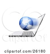 Clipart Illustration Of A Fast Globe Emerging From A Laptop Computer Screen by KJ Pargeter