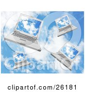 Clipart Illustration Of Four Laptop Computers Falling In A Cloudy Blue Sky by KJ Pargeter