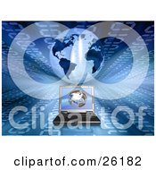 Clipart Illustration Of A Laptop Computer On A Background With Blue Binary And A Globe
