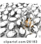 Clipart Illustration Of A White Figure Character Seated On Top Of A Golden Easter Egg Surrounded By Silver Eggs