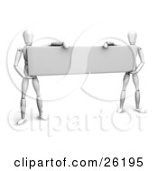 Clipart Illustration Of Two White Figure Characters Holding Up A Blank Sign