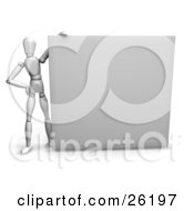 Clipart Illustration Of A White Figure Character Holding Up A Large White Blank Billboard