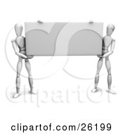 Clipart Illustration Of Two White Figure Characters Holding Up A Black Rectangular Sign