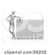Clipart Illustration Of A White Figure Character Leaning On A Large Blank Sign