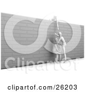 Clipart Illustration Of A White Figure Character Reaching Over The Top Of A Wall To Help Two Others Over It