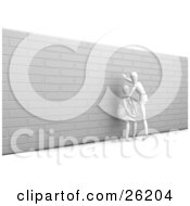 White Figure Character Crouching And Helping Another Person Over A Brick Wall