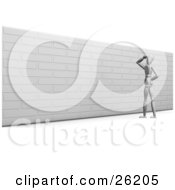 White Figure Character Looking Up At A Brick Wall