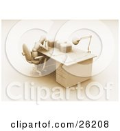 Clipart Illustration Of A White Figure Character Rubbing His Head And Sitting At A Desk Stacked With Paper Work Brown Tones