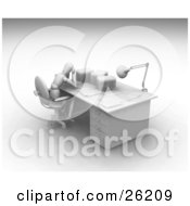 Clipart Illustration Of A White Figure Character Rubbing His Head And Sitting At A Desk Stacked With Paper Work by KJ Pargeter
