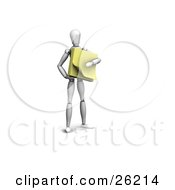 Clipart Illustration Of A White Figure Character Holding A Pad Of Yellow Sticky Notes