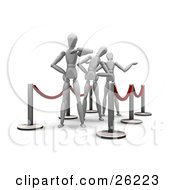 Clipart Illustration Of Three Impatient White Figure Characters Waiting In Line