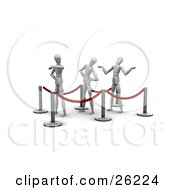 Clipart Illustration Of Three White Figure Characters Waiting Impatiently In Line