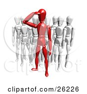 Clipart Illustration Of A Red Figure Character Saluting And Standing In Front Of A Crowd Of White Figures