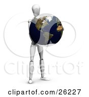 Clipart Illustration Of A White Figure Character Holding Planet Earth