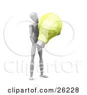 Clipart Illustration Of A White Figure Character Carrying A Large White Electric Lightbulb
