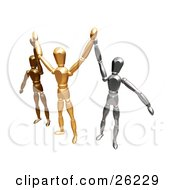 Clipart Illustration Of Bronze Gold And Silver Figure Characters Standing And Holding Their Arms Up