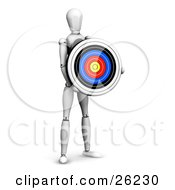 Clipart Illustration Of A White Figure Character Holding A Colorful Target