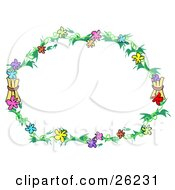 Clipart Illustration Of A Round Stationery Border Of Green Branches With Pink Blue Purple Orange Green Red And Yellow Flowers Over White by bpearth