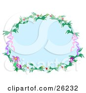 Clipart Illustration Of A Round Stationery Border Of Green Branches Red Hearts Pink Flowers And Ribbons Around A Blue Center Over White by bpearth