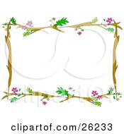 Clipart Illustration Of A Stationery Border Of Brown Tree Branches With Green Leaves And Purple Flowers Over White by bpearth