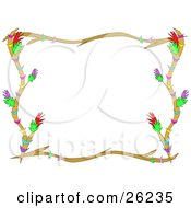Clipart Illustration Of A Stationery Border Of Branches Colorful Flowers And Stripes Over White by bpearth