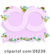 Clipart Illustration Of A Pink Stationery Background Bordered With Flowers And Happy Honey Bees by bpearth
