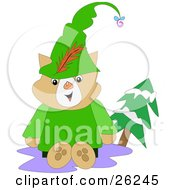Clipart Illustration Of A Friendly Robin Hood Cat In Green Sitting Outside By An Evergreen Tree by bpearth