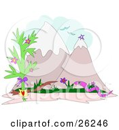 Clipart Illustration Of A Pink Snake With Blue Stripes Slithering On Grass Near A Tree With Birds Flying Above Snow Capped Mountains by bpearth