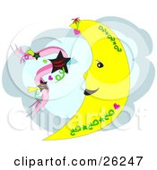 Clipart Illustration Of A Crescent Moon With Green Tattoo Designs And Hearts In Front Of A Cloud With Black Stars