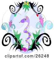 Clipart Illustration Of A Pretty Purple Snake With Yellow Stripes In A Floral Jungle by bpearth