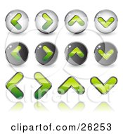 Clipart Illustration Of Green Back Forth Upload And Download Arrow Icons On A White Background